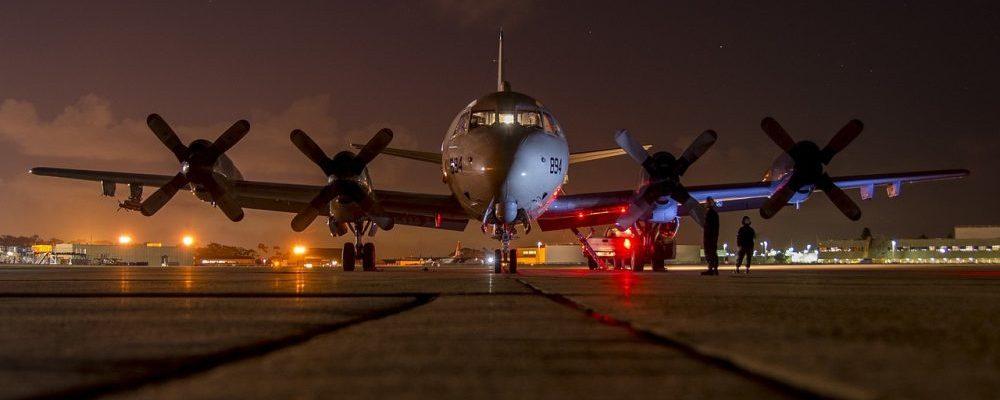 Airplane on wet runway